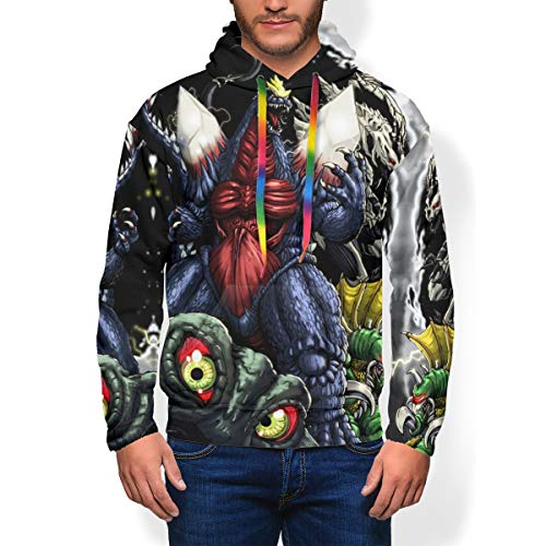 Teens Men's 3D Digital Print Pullover Hoodie, SpaceGodzilla Earth Vs The Alien Monsters Popular Thick Plus Fleece Heavyweight Hooded Sweatshirt Costume with Kangaroo Pocket