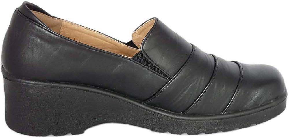 Casuales y C/ómodos de Oficina Ligeras Zapatos de Mujer sin Cordones Cushion Walk de Cuero Sint/ético Negro Mate o Patente Negro de Color Negro Zapatos Planos
