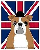125D - English Bulldog with Union Jack Flag UNFRAMED Wall Art Print by Lee ArtHaus