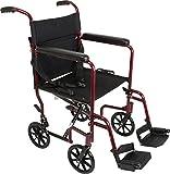 ProBasics Medical TCA1916BG Aluminum Transport Wheelchair, Burgundy