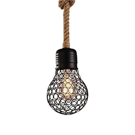 Rústico cáñamo cuerda colgante lámpara vintage - Lámpara de ...