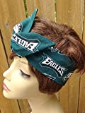 Philadelphia Eagles Wired Dolly Bow Wire Headband Rockabilly Wire Scarf - Bandana
