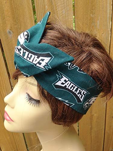 Philadelphia Eagles Wired Dolly Bow Wire Headband Rockabilly Wire Scarf - Bandana by Sweet Beaches