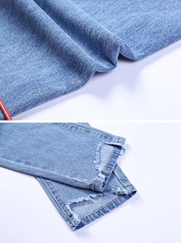 Trou Amples Bleu Taille Mode Clair Grande Lihaer Jeans Casual Pantalons Femme Stretch De De Pour Femmes Jeans 1xnw4pvE