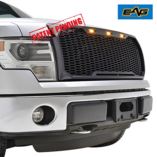 EAG F150 Replacement Upper Grille ABS Mesh Grill for 09-14 Ford F150 - Matte Black - With Amber LED Lights and Wiring Harness