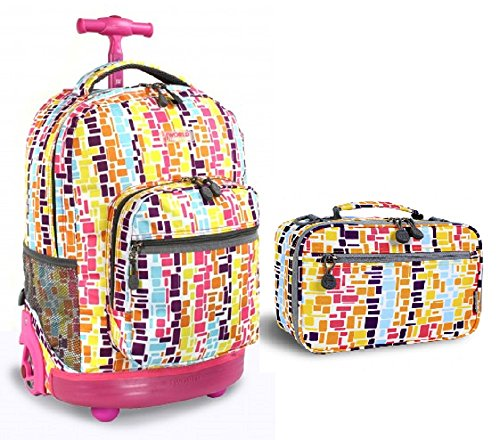 J World Squares Neon Sunrise Roller Backpack Back Pack and Cody Lunch Bag Set