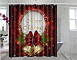 Somersetoo Custom Merry Christmas Art Print Pattern Shower Curtain Wall Decorative Screen 66 'x 72' inches