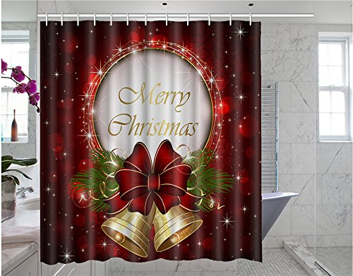 Somersetoo Custom Merry Christmas Art Print Pattern Shower Curtain Wall Decorative Screen 66