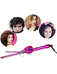 iGutech 9mm Mini Hair Curler Curling Tong Tourmaline Ceramic Barrel Curling Iron for Men Women (Rose Red)
