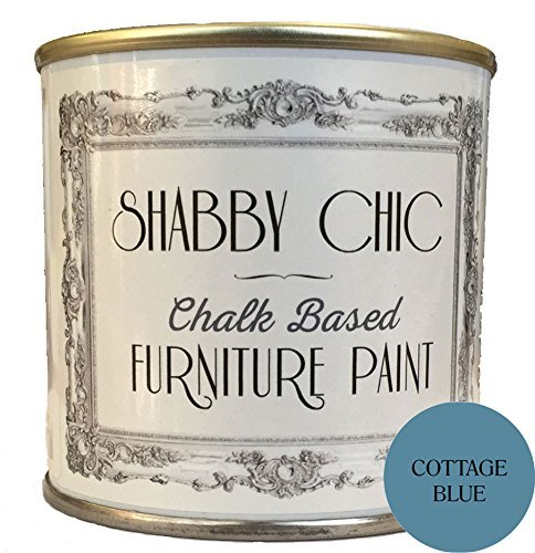 Shabby Chic Chalk Based Furniture Paint - Cottage Blue 250ml - Chalked, Use on Wood, Stone, Brick, Metal, Plaster or Plastic, No Primer Needed, Made in The UK. (Chic Furniture)