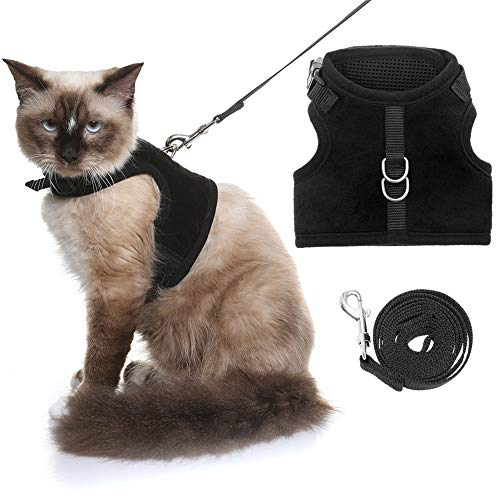 KOOLTAIL Escape Proof Cat Harness and Leash for Walking, Adjustable Soft Vest Harness for Cats Black Small
