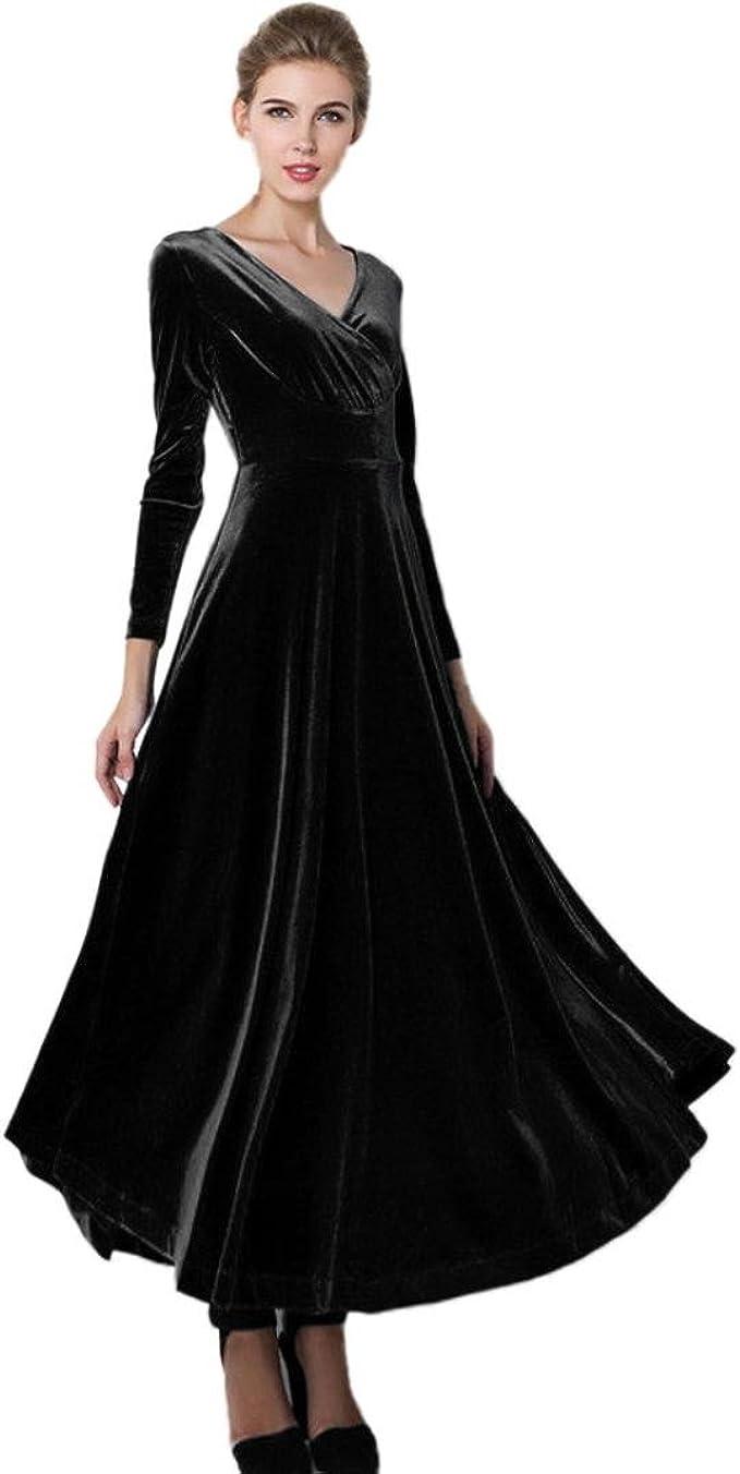 Kolylong® Kleid Damen 11 Frauen Elegant Samt Lang Kleid mit V-Ausschnitt  Herbst Winter Elegant Langarm Kleid Cocktails Party Kleid Abendkleid Plus