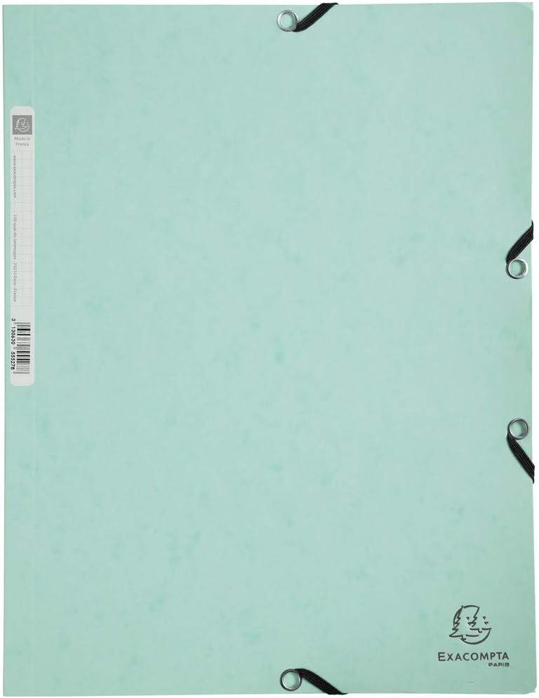 Exacompta 55533E Aquarel - Carpeta con gomas elásticas (3 solapas en cartulina satinada, 400 g/m2, para archivar documentos A4, color verde pastel