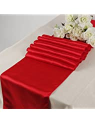 Great MDS Pack Of 10 Wedding 12 X 108 Inch Satin Table Runner For Wedding Banquet  Decoration  Red