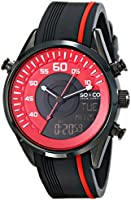 SO & CO New York  Men's 5044.4 SoHo Quartz Analog Digital Red Dial Rubber Strap Watch