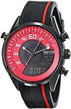 SO & CO New York  Men's 5044.4 SoHo Quartz Analog Digital Red Dial Rubber Strap Watch