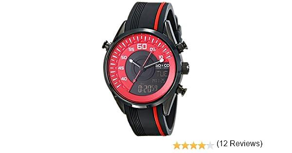 Amazon.com: SO&CO New York Mens 5044.4 SoHo Quartz Analog-Digital Display Black Watch with Two-Tone Rubber Strap Watch: Watches