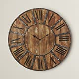 Oversized 24″ Rustic Metal Wall Clock, Roman Numeral Numbering Review