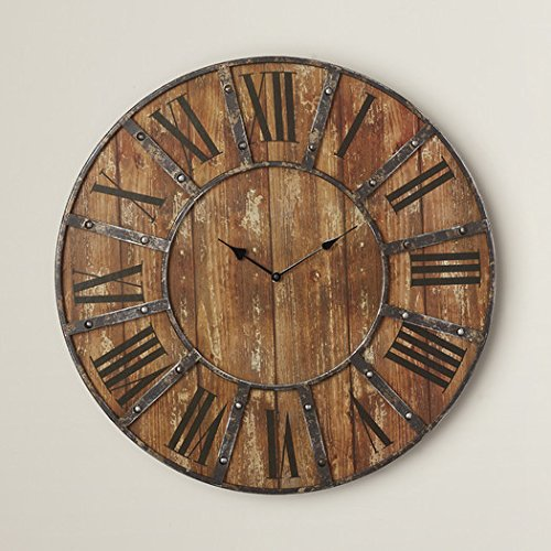"""Oversized 24"""" Rustic Metal Wall Clock, Roman Numeral Numbering from Darby Home Co"""