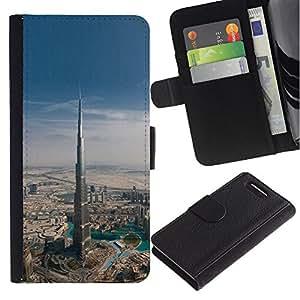 Sony Xperia Z1 Compact / Z1 Mini / D5503 Modelo colorido cuero carpeta tirón caso cubierta piel Holster Funda protección - Architecture Dubai Skyscraper
