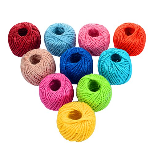 1000 Feet (c.333 yards) 2mm 3 ply Colourful Natural Jute Twine String Roll Collection - 10 Assorted Coloured Variety Pack for Artworks and Crafts, Gift Wrapping, Picture Display and Gardening by Quotidian (Image #3)