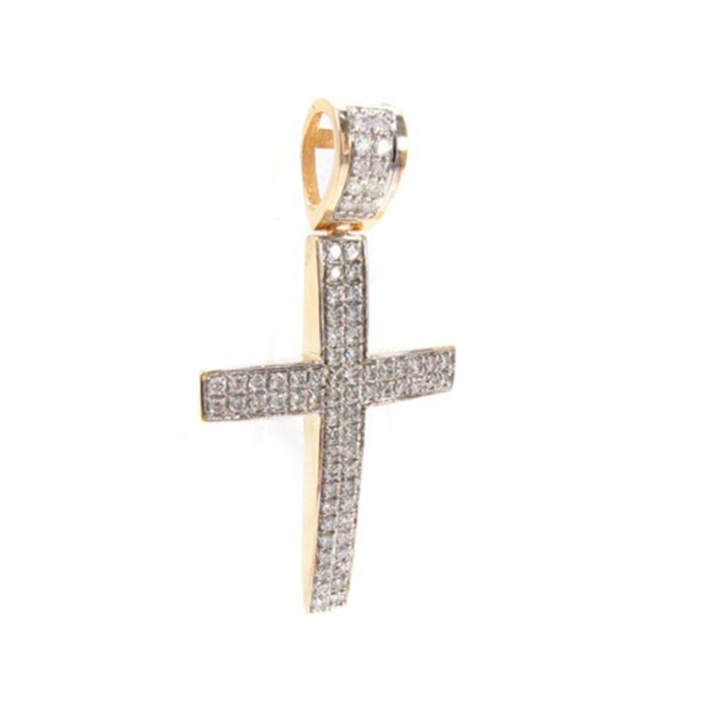 "14K Yellow Gold 2.40 Carat Genuine Round Cut Diamond 2"" Inches Cross Charm Pendant"