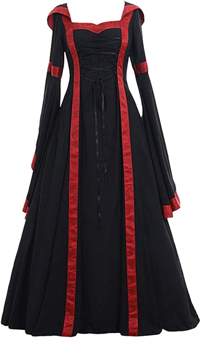 F/_Gotal Women Medieval Dress Renaissance Lace Up Vintage Hooded Gothic Floor Length Long Dress Cosplay Retro Cocktail