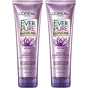 L'Oreal Paris Hair Care EverPure Volume Sulfate Free Shampoo & Conditioner Kit for Color-Treated Hair, Volume + Shine for Fine, Flat Hair, with Lotus Flower (8.5 Fl. Oz each) (Packaging May Vary)