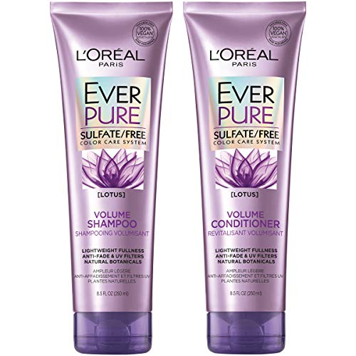 L'Oreal Paris Hair Care EverPure Volume Sulfate Free Shampoo & Conditioner Kit for Color-Treated Hair, Volume + Shine for Fine, Flat Hair, (8.5 fl. oz. each) (Best Color Treated Shampoo And Conditioner)