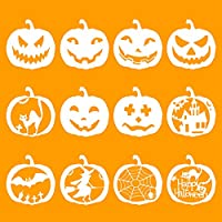 Halloween Stencils Set, Halloween Symbol Plastic Drawing Templates - Ghost, Witch, Bat, Spider Net, Black Cat...