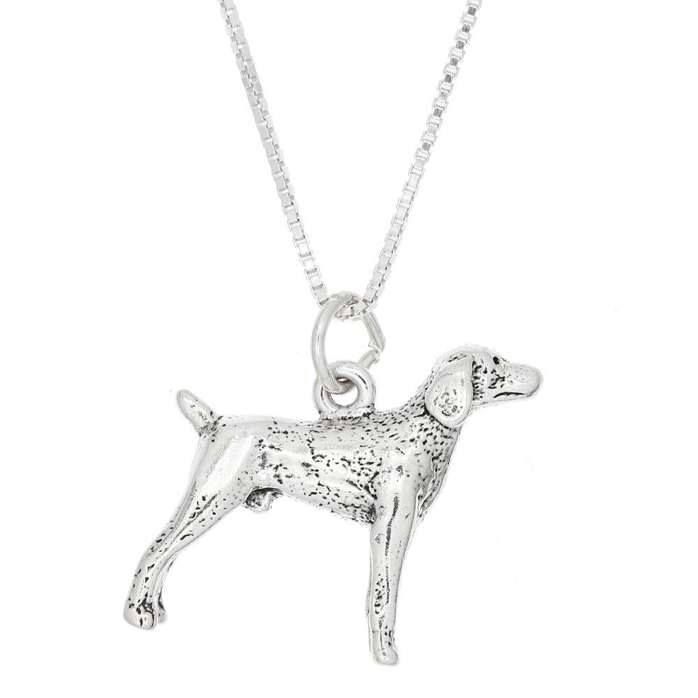 Sterling Silver Three Dimensional Weimaraner Pointer Dog Necklace