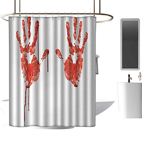 RenteriaDecor Shower Curtains Disney Horror,Handprint Like Wanting Help Halloween Horror Scary Spooky Flowing Blood Themed Print,Red White,W72 x L72,Shower Curtain for Women -