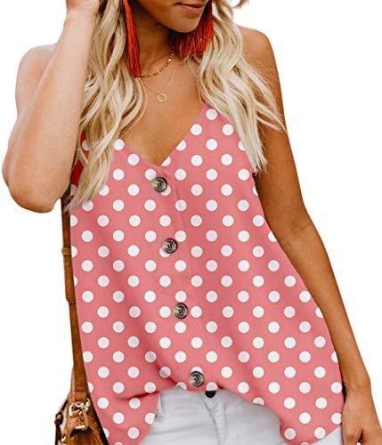 Aixy Womens Tops V Neck Sleeveless Shirts Casual Loose Cami Shirt Tank Tops,Pink Polka Dot,XL