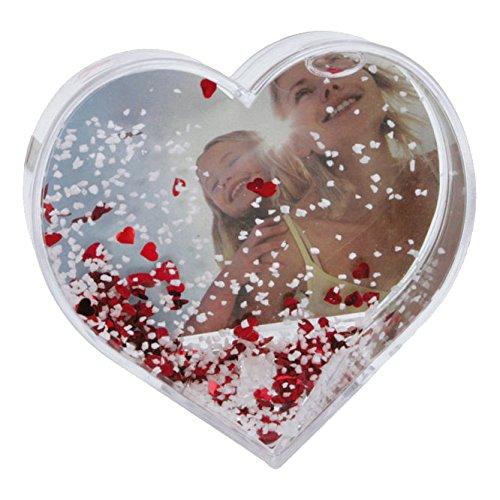Dorr Heart Shaped Snow Globe Photo Frame - Red