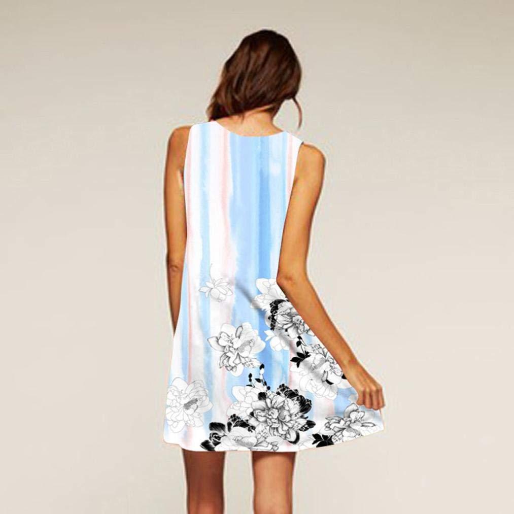 UONQD 2019d Short Sleeve Round Neck Triple Color Block Stripe T-Shirt Casual Blouse(Small,e-Blue) by UONQD (Image #2)