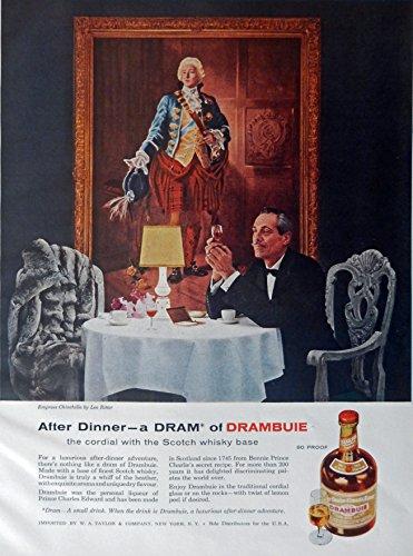 Drambuie Scotch Whiskey, 50's Print Ad. full Page Color Illustration (Empress Chinchilla by Leo Ritter) Original Vintage, Rare 1957 Esquire Magazine Art