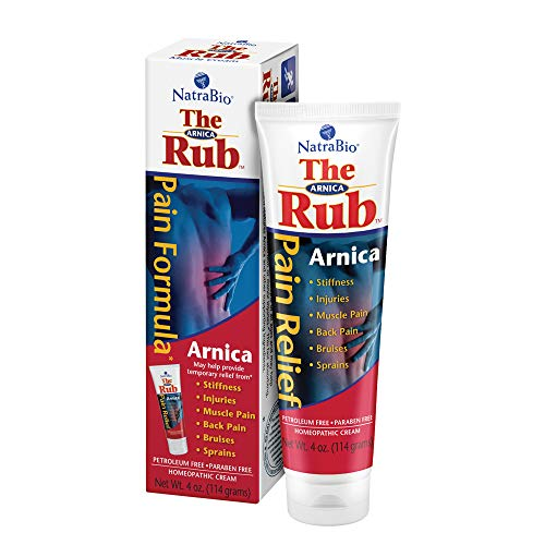 - NatraBio The Arnica Rub | 8% Arnica | Homeopathic Pain Formula for Relief from Stiffness, Injuries, Muscle Pain, Back Pain, Bruises & Sprains | 4 oz