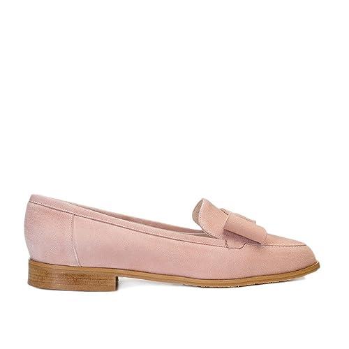 GENNIA Damaris Nude - Mocasines para Mujer de Cuero y con Mini Tacón de 1 cm: Amazon.es: Zapatos y complementos
