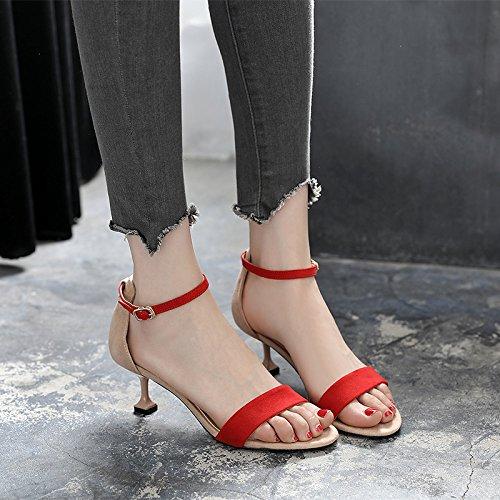 6cm red una fibbia gatto spillo GTVERNH 36 le scarpe con tacchi corrispondenza in sexy colore i sandali multa estate tep una a B8ddw1Wq