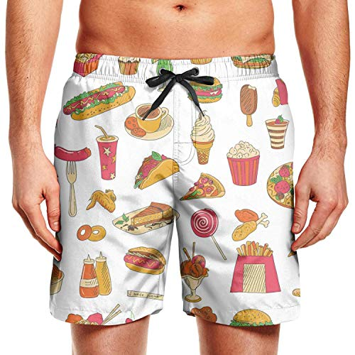 Mens Board Shorts Fast Food Sandwich Burger Cheeseburger Pizza Slice with French Fries Quick Dry Comfortable Swimming Trunks