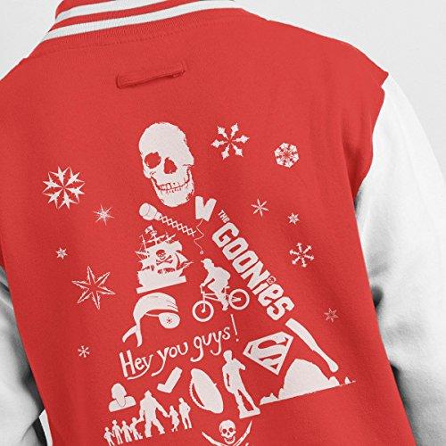 Varsity Tree Jacket Men's Goonies white White Silhouette Christmas Red 57wnqgX
