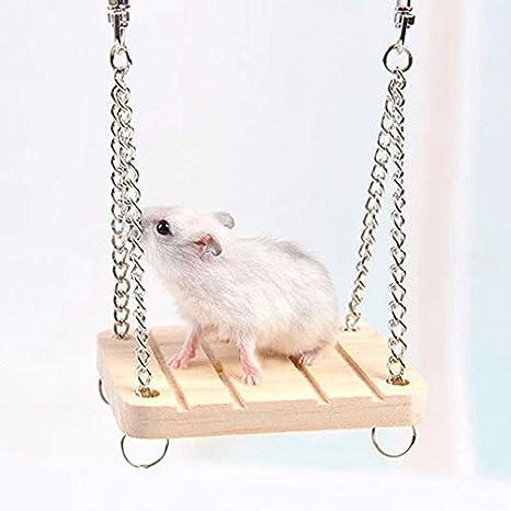 Kicode Gracioso Pet Hamster Parrot Balancín de madera Columpio ...