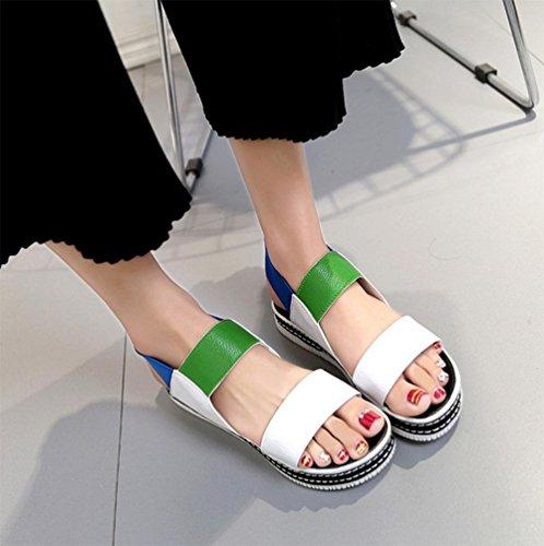 ... Frau Sommer Plateau-Sandalen weiblichen Studenten Schuhe Farbe Sandalen  Elastikband buchstabieren grün