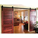 WINSOON 8FT Antique Double Sliding Barn Door Hardware Roller Track Kit Black