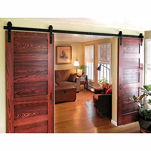 WINSOON 8FT Antique Double Sliding Barn Door Hardware Roller Track Kit Black, 4-18FT for Choose ()