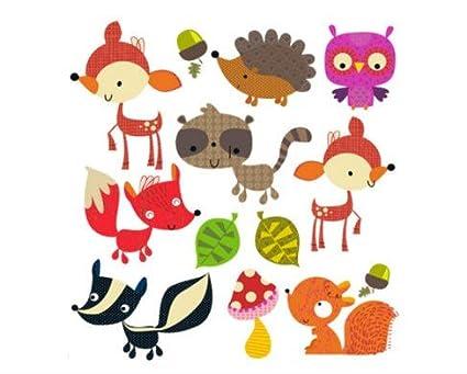 Pegatinas infantiles transfer parche termoadhesivo animales bosque para pijamas, sudaderas, camisetas, canastillas.