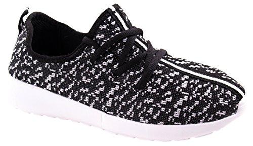 Link Per Sempre Donna Rest-37 Allacciatura Leggera Snella / Sneakers Moda Con Colori Duo Nero