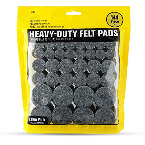Smart Surface 8856 Heavy Duty Self Adhesive Furniture Felt Pads 3/4-Inch, 1-Inch & 1-1/2-Inch Round Gray 144-Piece Value Variety Pack in Resealable Bag