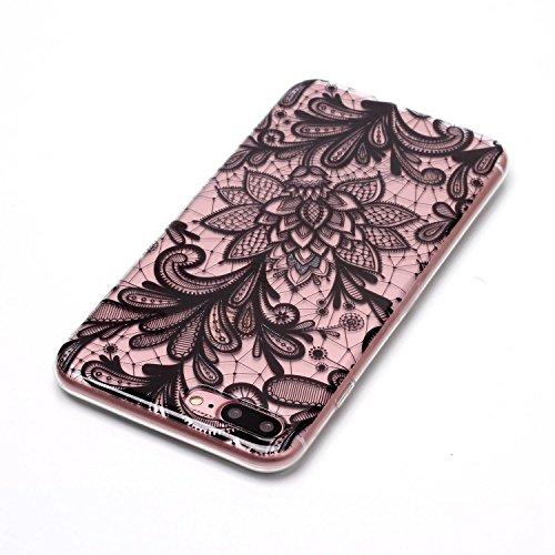 iPhone 7 Plus / iPhone 8 Plus Hülle Schwarze blumen Premium Handy Tasche Schutz Transparent Schale Für Apple iPhone 7 Plus / iPhone 8 Plus + Zwei Geschenk