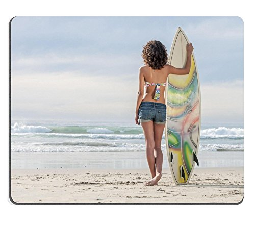 Luxlady Mousepad Beautiful young surfer girl standing surfboard in sand watching beautiful waves IMAGE 24601029